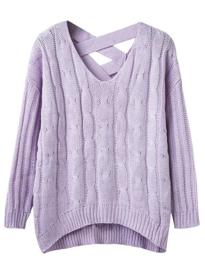 Cable Knit V Neck Chunky Sweater - LIGHT PURPLE ONE SIZE Mobile