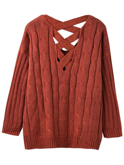 Cable Knit V Neck Chunky Sweater - SPICE ONE SIZE Mobile