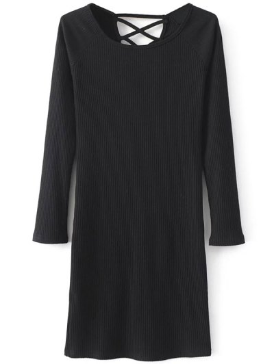 Strappy Long Sleeve Ribbed Sweater Dress - BLACK L Mobile