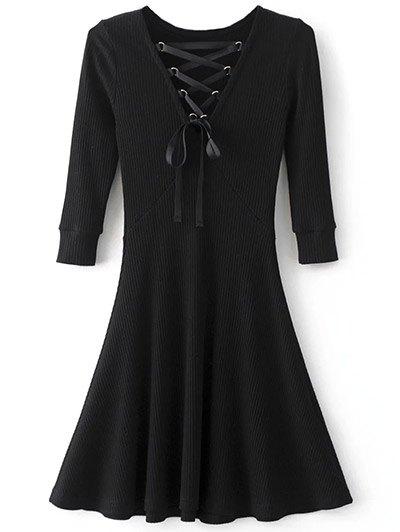 V Neck Lace Up Ribbed Jumper Dress - BLACK S Mobile