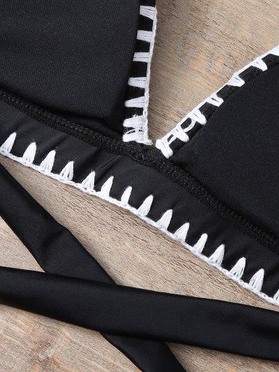 Embroidered Bowknot Bikini Set - BLACK L Mobile