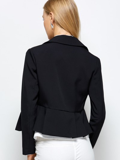 Zipper Asymmetric Peplum Blazer - BLACK XL Mobile