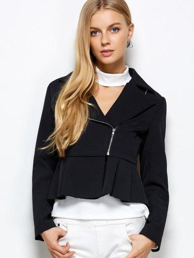 Zipper Asymmetric Peplum Blazer - BLACK L Mobile