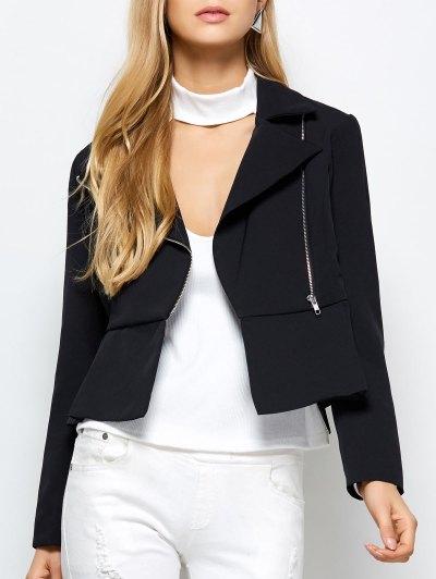 Zipper Asymmetric Peplum Blazer - BLACK XS Mobile
