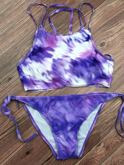 Tie Dyed String Bikini Set - LIGHT PURPLE L Mobile
