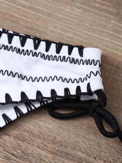 Embroidered Bowknot Bikini Set - WHITE L Mobile