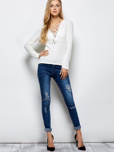 Ribbed Knit Lace Up Jumper - WHITE XL Mobile