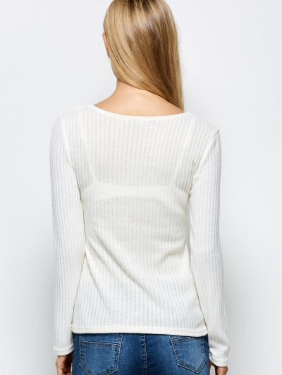 Ribbed Knit Lace Up Jumper - WHITE M Mobile