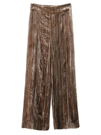 Velvet Pleated Pants - KHAKI M Mobile