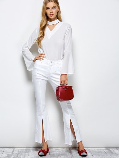 Loose Choker Flare Sleeve Blouse - WHITE M Mobile