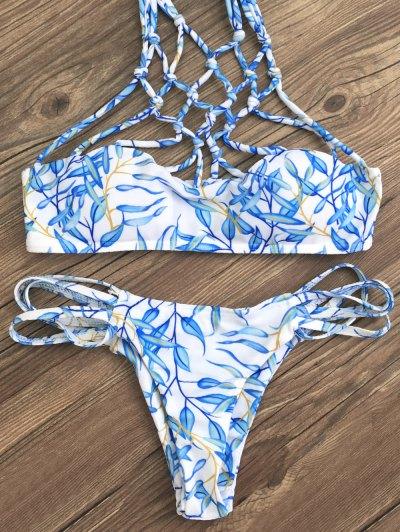 Cut Out Strappy Bikini Set - BLUE L Mobile