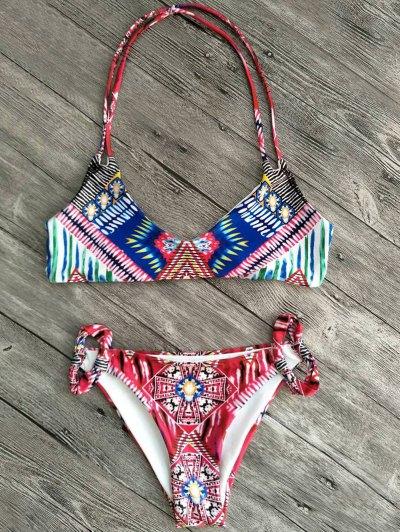 Cami Printed Cut Out Bikini Set - RED L Mobile