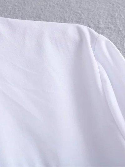 Tied Patch Boyfriend Shirt - WHITE L Mobile