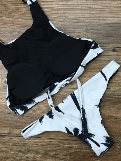 Coconut Palm Pattern High Neck Bikini - WHITE S Mobile