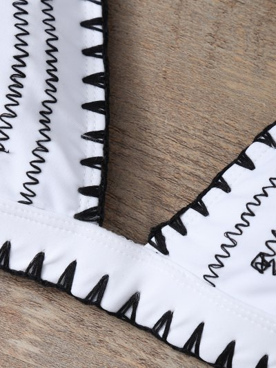 Embroidered Bowknot Bikini Set - WHITE S Mobile