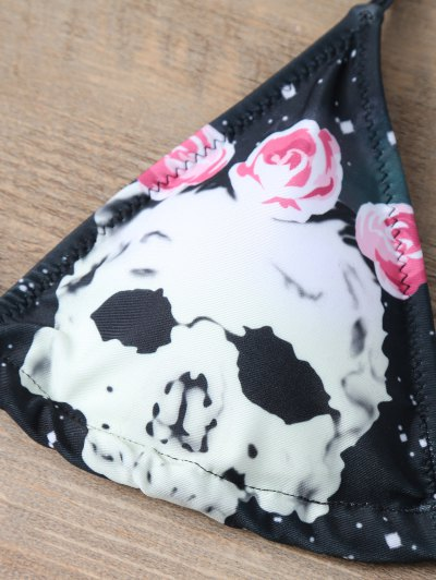String Floral and Skull Bikini Set - BLACK M Mobile