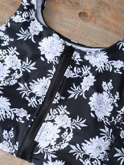 Full Zip Floral Bikini Set - BLACK L Mobile