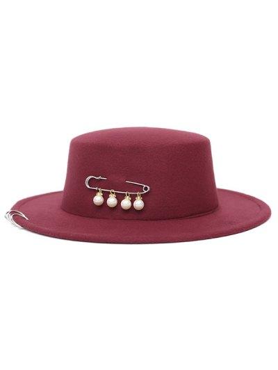 Circle Hoop Faux Pearl Embellished Hat - WINE RED  Mobile