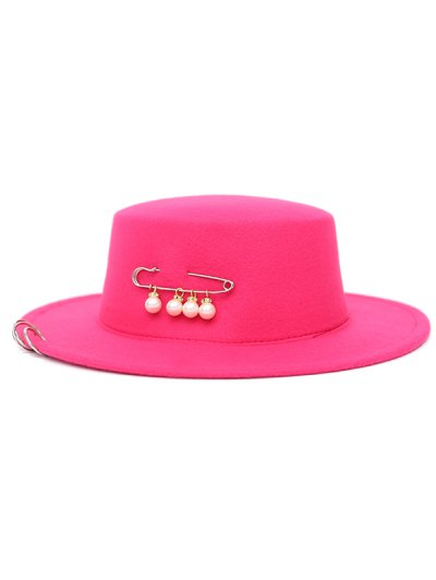 Circle Hoop Faux Pearl Embellished Hat - ROSE MADDER  Mobile