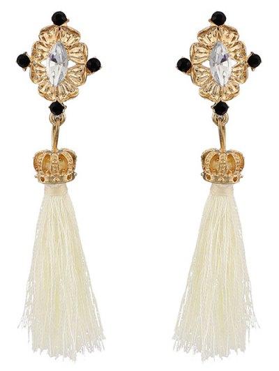 Rhinestone Tassel Crown Earrings - WHITE  Mobile