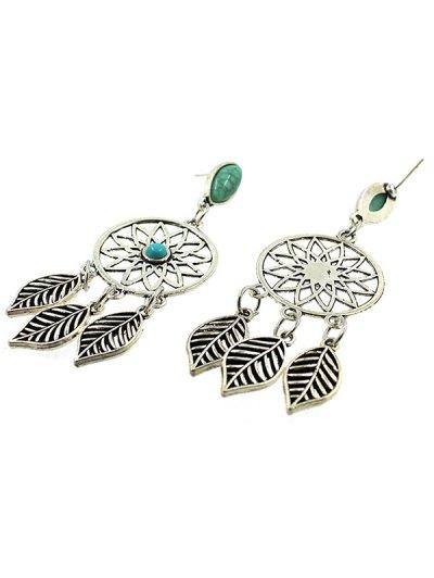 Faux Turquoise Leaves Bohemian Earrings - SILVER  Mobile