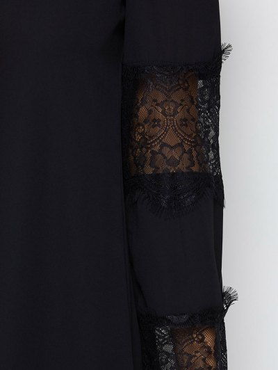 Long Sleeve Lace Panel Shift Dress - BLACK M Mobile