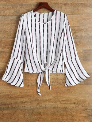 Flare Sleeve Tied Striped Blouse - White