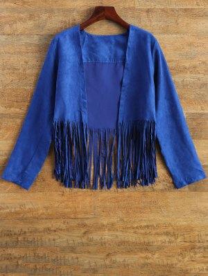 Faux Suede Tassels Cropped Jacket - Blue