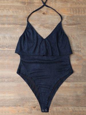 Halter Flounce Ruffles Bodysuit - Deep Blue
