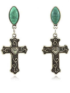 Fake Gemstone Heart Crucifix Earrings - Silver
