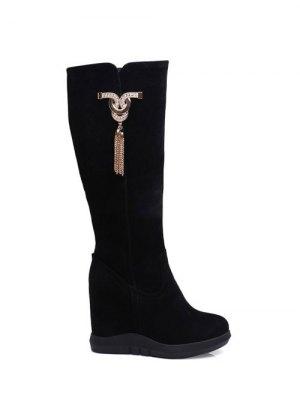 Rhinestone Metal Tassel Hidden Wedge Boots - Black