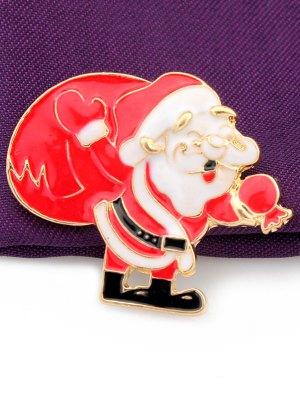 Christmas Santa Claus Gift Brooch - Golden