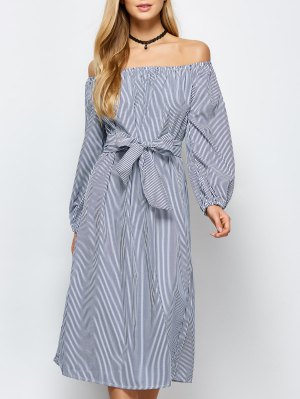 Striped Off Shoulder Side Slit Dress - Stripe