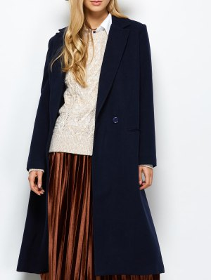 Laple Collar Maxi Coat - Purplish Blue