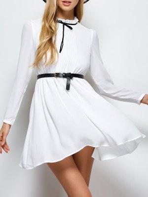 Ruff Collar Pleated Chiffon Dress - White