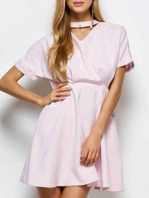 A Line Short Sleeve Choker Dress - Pink