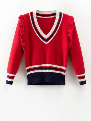 Striped Ruffles V Neck Sweater - Red