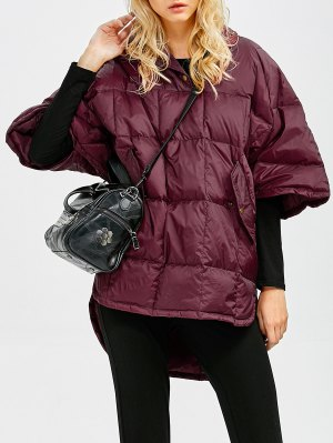 Oversized High-Low Down Coat - Wine Red