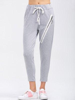 Pantalon de course à glissière avec cordon coulissant