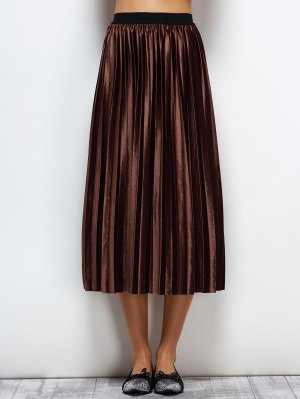 Accordion Pleat Midi Velvet Skirt - Coffee