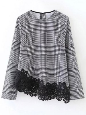 Houndstooth Lace Panel Blouse - White And Black