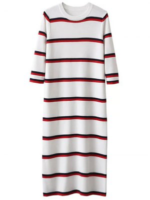 Crew Neck Striped Jumper Dress - White