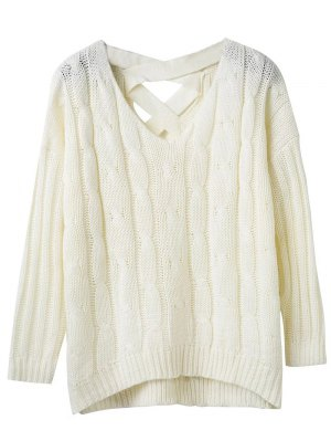 Cable Knit V Neck Chunky Sweater - White