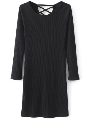 Strappy Long Sleeve Ribbed Sweater Dress - Black