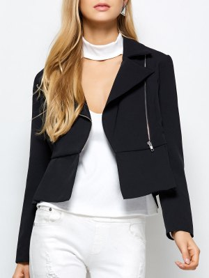 Zipper Asymmetric Peplum Blazer - Black