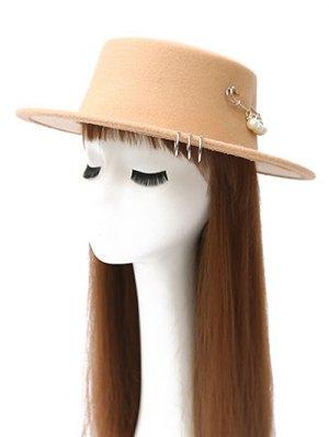 Circle Hoop Faux Pearl Embellished Hat - Beige