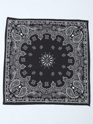 Paisley Floral Printed Bandana - Black