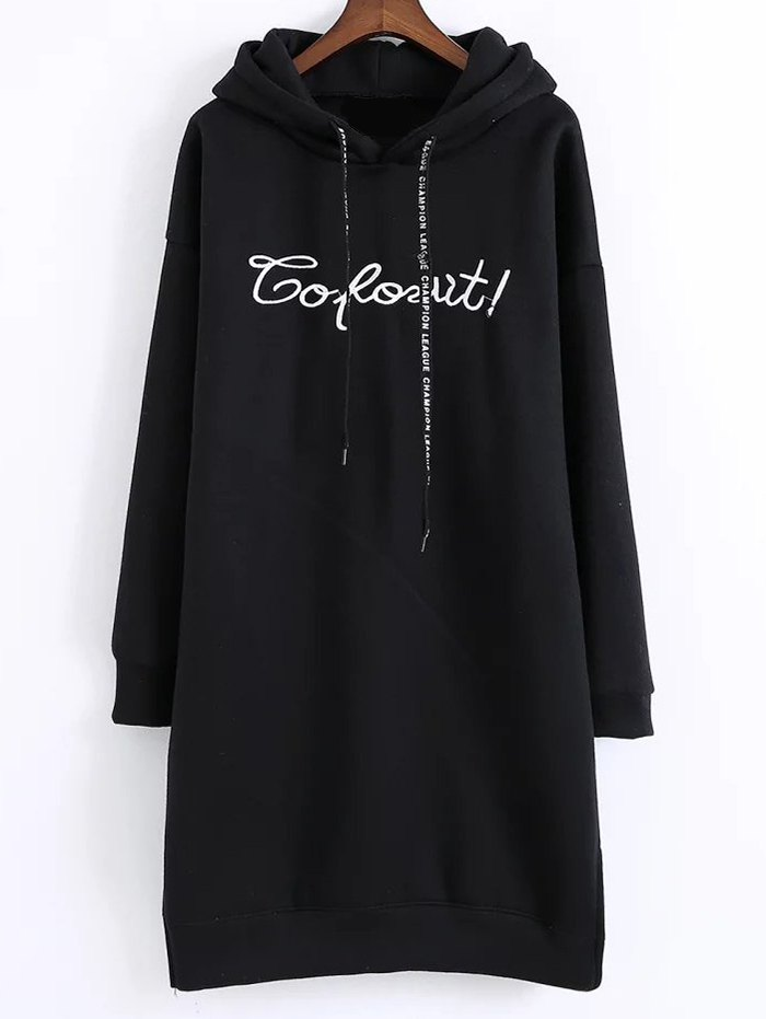 Letter Embroidered Hooded Dress