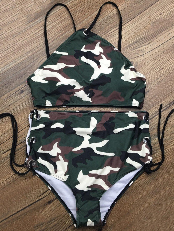 High Waisted Lace Up Camouflage Bikini