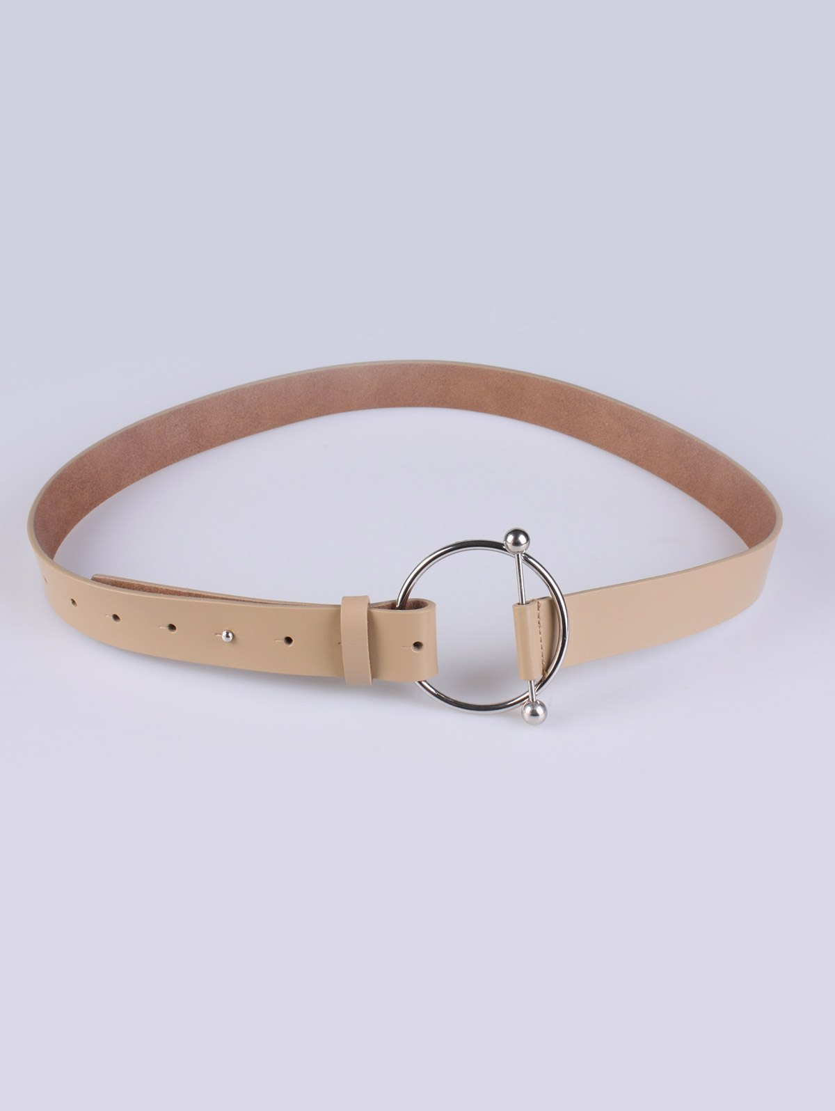 Round Buckle Skinny Faux Leather Belt